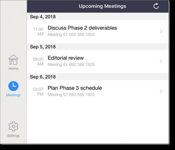 Upcoming meetings (tablet)