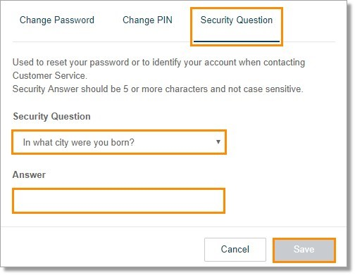Click on the drop-down list to select the security question and fill in the answer field.