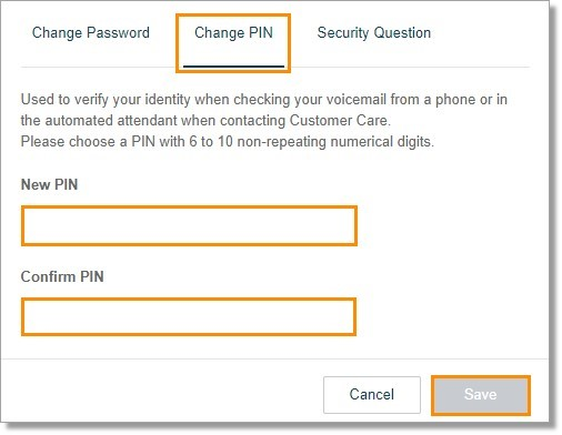 Click Change PIN then enter the New PIN and Confirm PIN. Click Save.