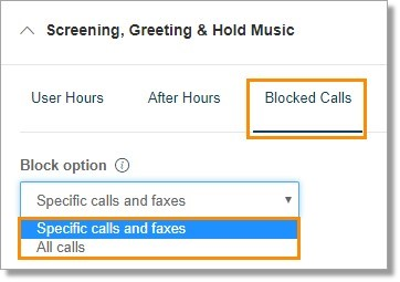 Under Blocked Calls, select your Block option