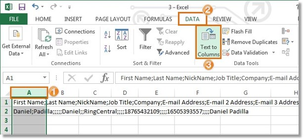 Click on Column A to highlight the contents. Click on the Data tab, and then click on Text to Columns.