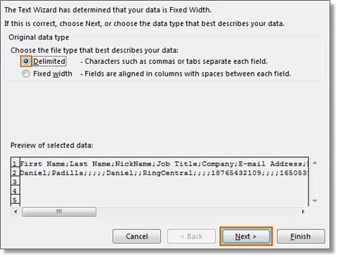 On the Convert Text to Columns Wizard, select Delimited as the file type that best describes your data, and then click Next.