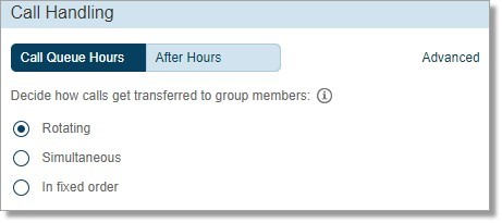 First, access the Call Handling section. Under Business Hours, select any of the three options
