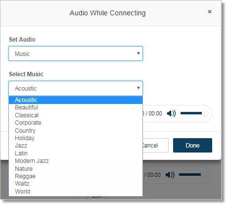 If you select Music for Audio, select the Music type.