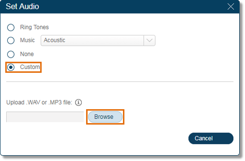 Selecting Custom will let you upload your own audio file. Use the playback controls to listen to the prompt options.