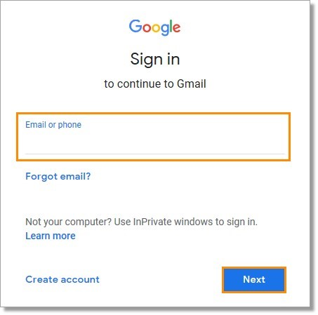 Enter the Google email that has been associated with your Office@Hand Account and then, click Next.