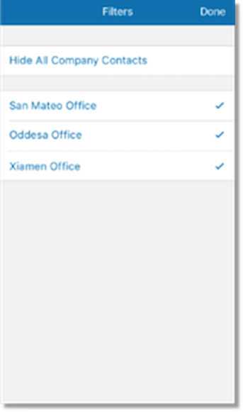Can filter Company Directory to display specific offices.