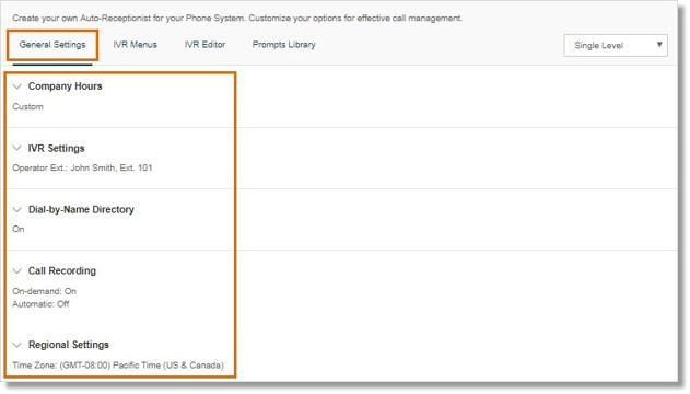 sections are available on the General Settings tab, so you can set up your Auto-Receptionist and IVR settings.