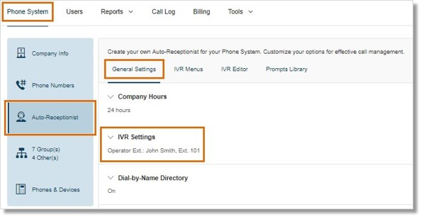 Go to Phone System > Auto-Receptionist > General Settings > IVR Settings.