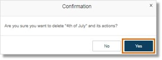 A confirmation appears, asking you if you want to continue deleting the rule. Click Yes.