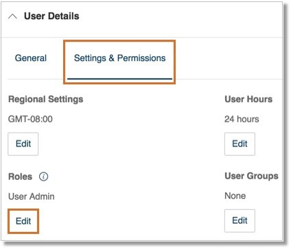 Go to User Details > Settings & Permissions, click the Edit button under Roles.