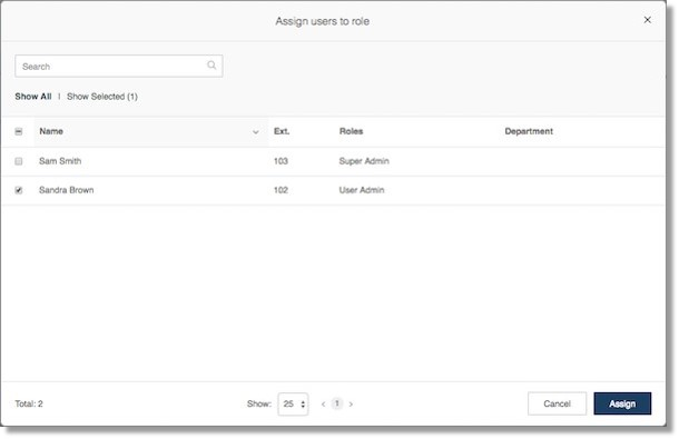 Select Users from the list. Check the box beside the User you want to assign then click Assign.