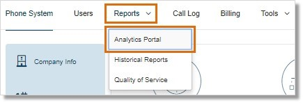 The Analytics Portal can be accessed by Account Administrators on the AT&T Office@Hand Online account by going to Admin Portal > Reports > Analytics Portal.
