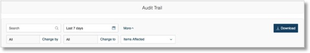 On the Audit Trail Page you can filter the information by: Date / Time (up to the last 90 days).