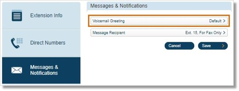 Click Voicemail Greeting.