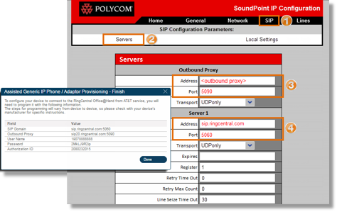Click on the SIP tab, and then go to Servers. Using the SIP Information, fill out the required fields.