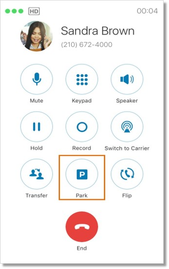 Tap Park on your active call screen.