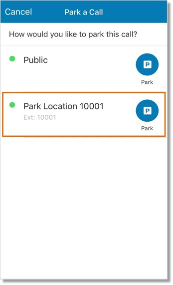 Tap the location where you want to retrieve your parked call later on.