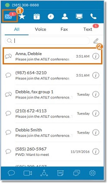 If you are an AT&T Office@Hand User and received the Conference invite on your AT&T Office@Hand Desktop App, you can go to the Messages tab Messaging tab and then, select the AT&T Office@Hand Conference invitation.