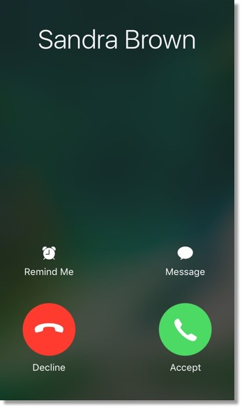 Users will see the following interactive buttons at the bottom when there is an incoming call from a non-Office@Hand contact.