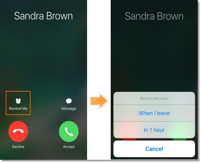 A reminder can be set for the call in 1 hour or when the user leaves.