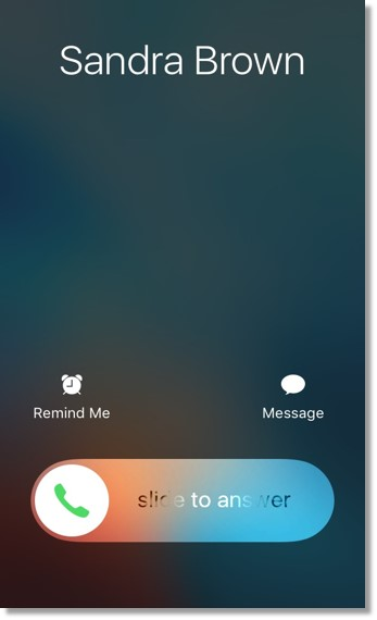 Users will see 3 interactive buttons at the bottom when there is an incoming call from a non Office@Hand contact. Slide the Answer button to the right to take the call.