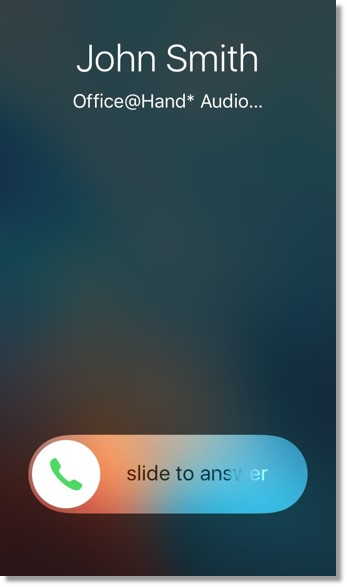The user can accept the call by sliding the Answer button to the right.