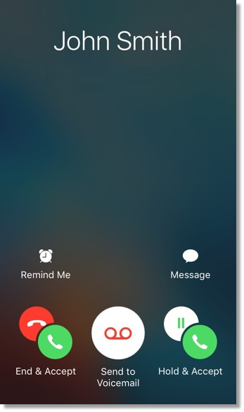 A screen similar to the image below appears when there is an ongoing call with an Office@Hand contact and a call from a non-Office@Hand contact comes in.