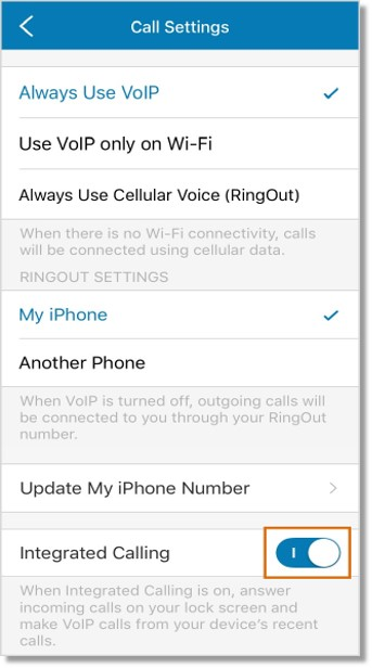 Tap the slider button across Integrated Calling to either enable or disable this feature.