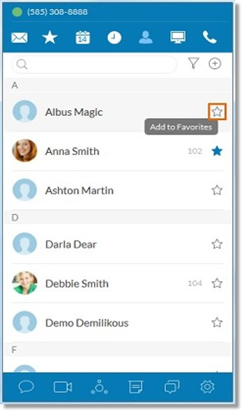 Look for the name you wish to add to your Favorite contacts list and then, click the star Star button or Add to Favorites button.