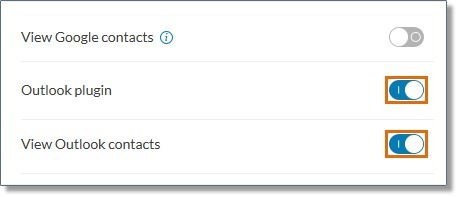 For the Outlook plugin and View Outlook contacts, toggle the switch to ON.