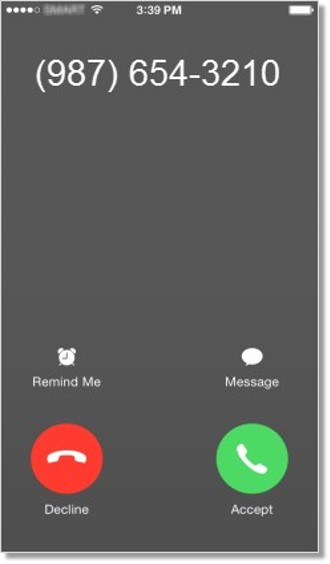 If a regular call comes in while you are on an Office@Hand call, you can either answer or reject the mobile call, reply with a message, or choose to be reminded of the call at a later time.