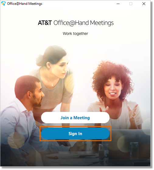 Launch AT&T Office@Hand Meetings in your computer or mobile device, and then click or tap Sign In.