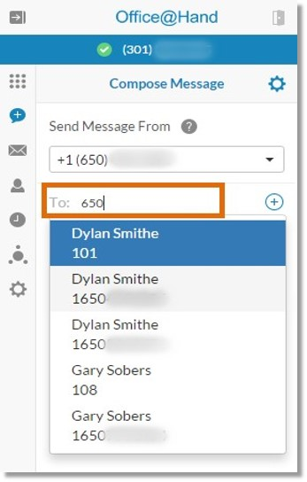 Type the number or name of your message's recipient in the To: text box.