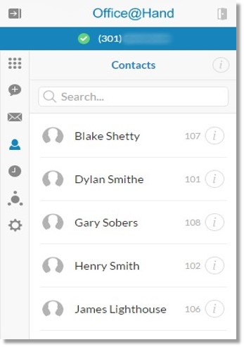 The Contacts screen appears with the list of all your corporate and personal contacts.