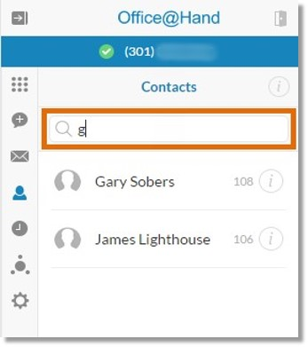 Finding a contact can be easily done by typing keywords in the search box. icon.