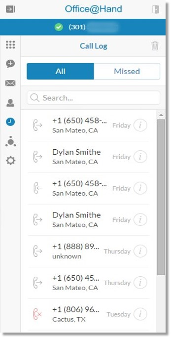 The Call Log screen appears with the list of all your corporate and personal contacts.