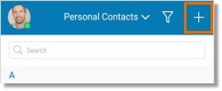 Tap the Plus Sign to add a Personal Contact.