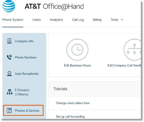 Log into your AT&T Office@Hand account, and go to Phone System > Phones and Devices.