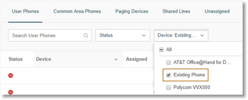 Click the Device drop-down and choose Existing Phone.