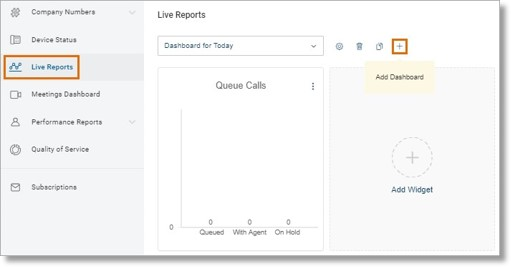 Click the Plus or Add Dashboard button will allow you to create or add a new dashboard.