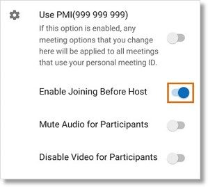 Tap the slider button next to Enable Joining Before Host to enable the setting.