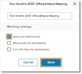 Change the meeting name if needed. Check Allow join before host, then click Save.