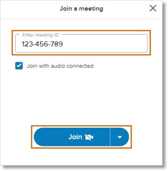 Enter the meeting ID on the space provided. You may also check Join with audio connected, as preferred. Click Join.