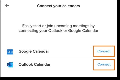 Click Connect beside Google Calendar or Outlook Calendar.