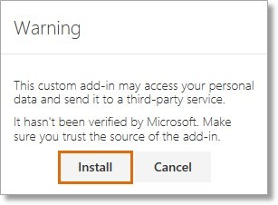 """A """"warning"""" window will open, then click on Install."""
