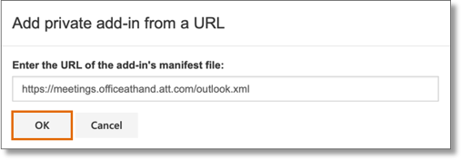 In the pop-up window, copy and paste this URL on the space provided: https://meetings.officeathand.att.com/outlook.xml. Click OK.