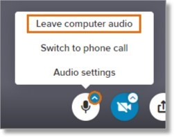 Click the up-arrow on the Mute microphone icon and then click Leave computer audio.