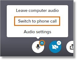 Click the up-arrow in the Mute microphone icon and then click Switch to phone call.
