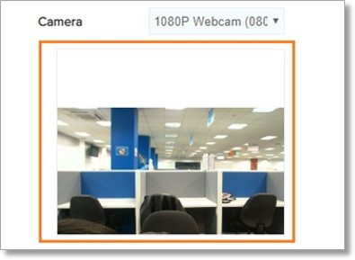 Check the camera preview window if an image from the webcam is shown.